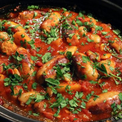 Sausage, Apple & Bean Casserole – slow cooked