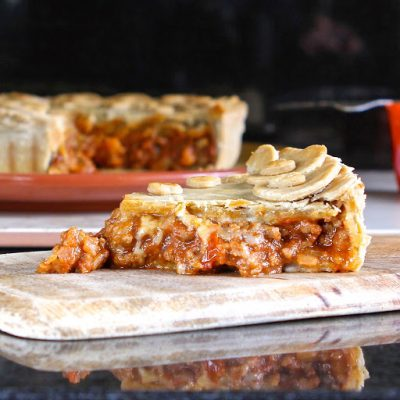 Beef Bolognese Pie (gluten free) using Schwartz sauce mix