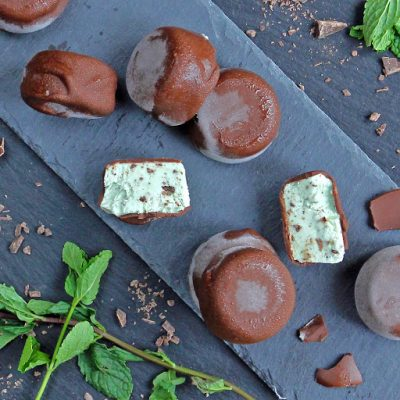 Vegan Mint-Chocolate Ice Cream Bites (free from gluten, dairy, nuts)