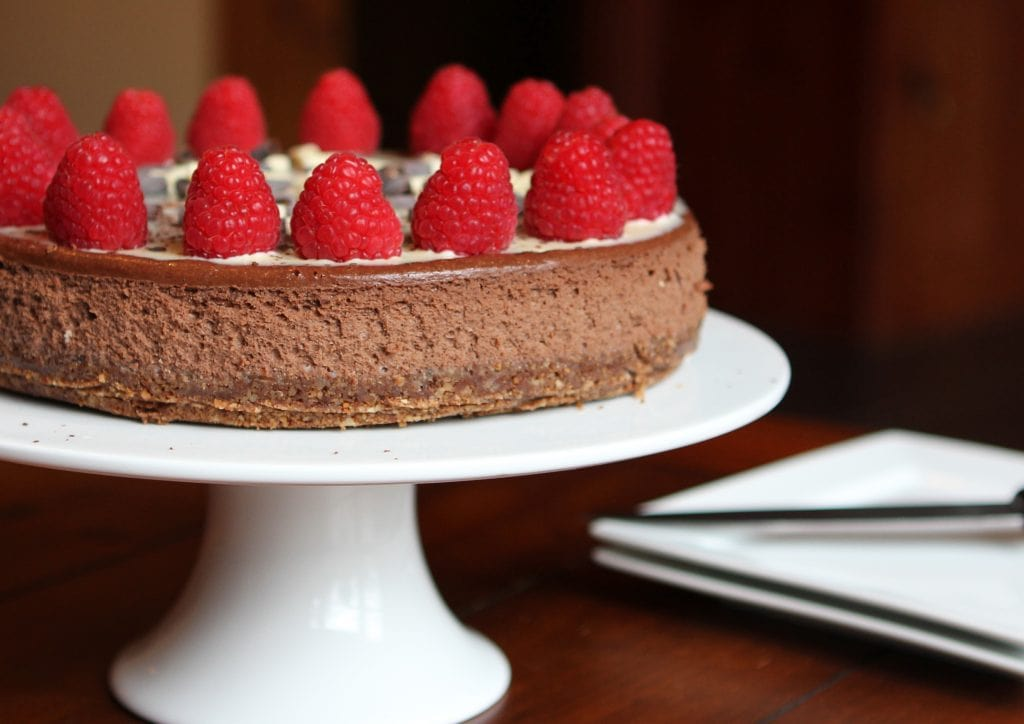 Decadent baked double chocolate cheesecake. Make it with a gluten free biscuit base for a delicious gluten free pudding.