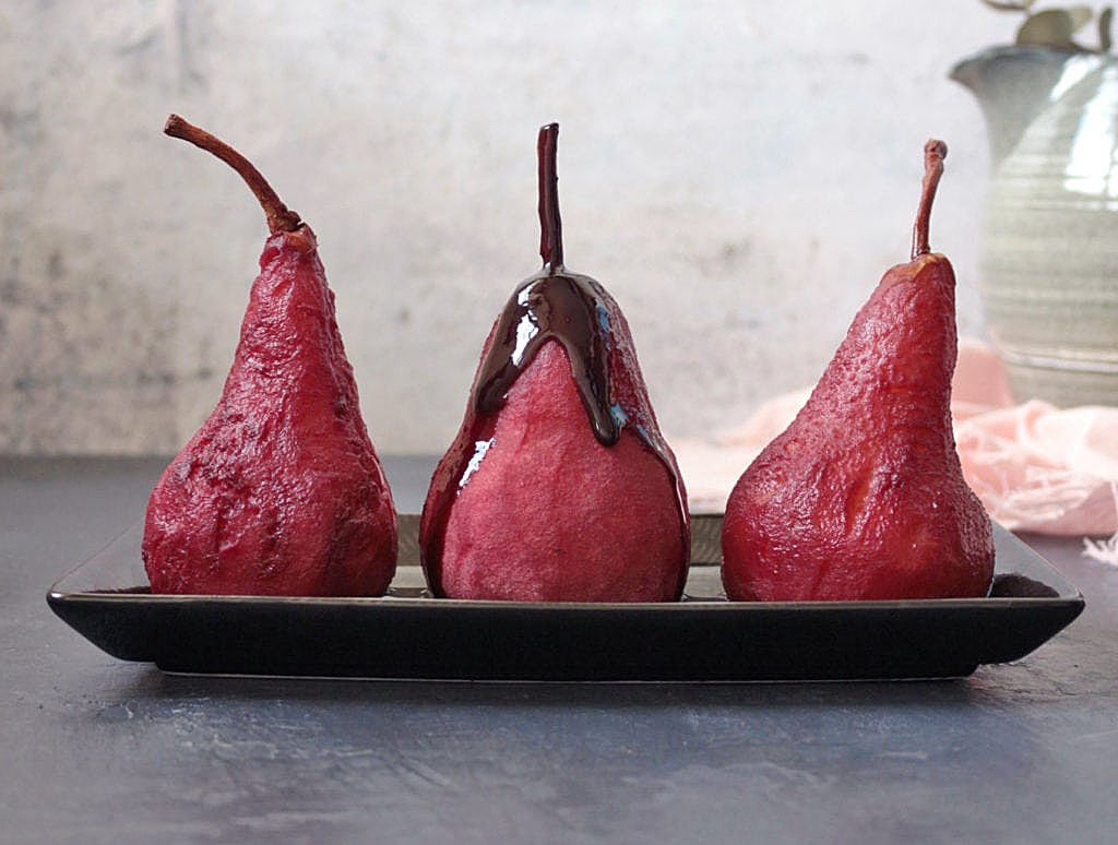 Spiced Poached Pears from A Baking Journey. A fruity Gluten Free Pudding.