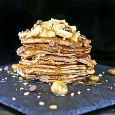 Gluten Free Banana Pancakes with Caramelised Banana Sauce