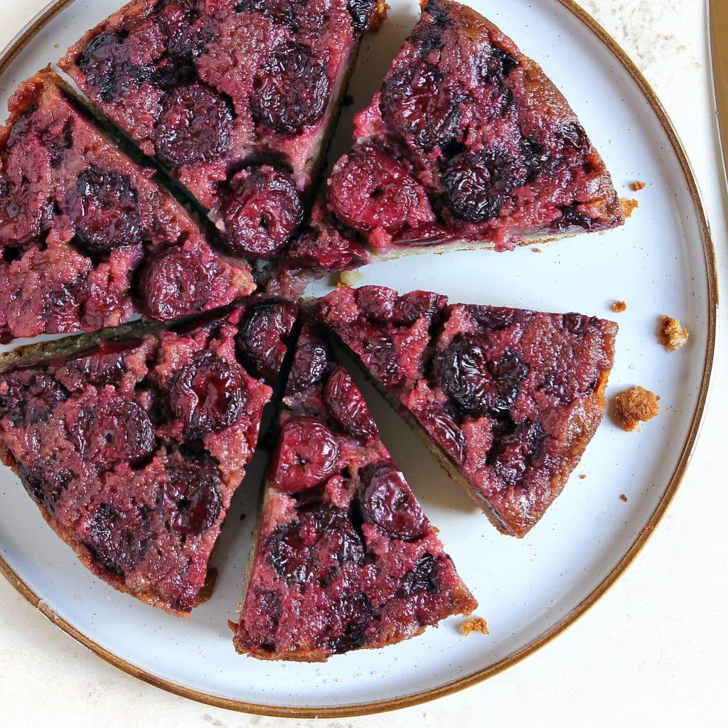 sliced-gluten-free-cherry-upside-down-cake