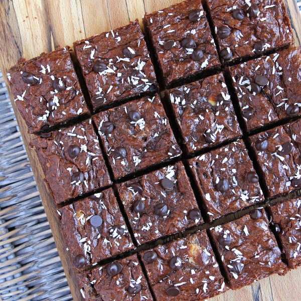 Gluten Free Banana Brownies with Coconut