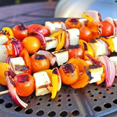 BBQ Halloumi Skewers with sweet summer veg