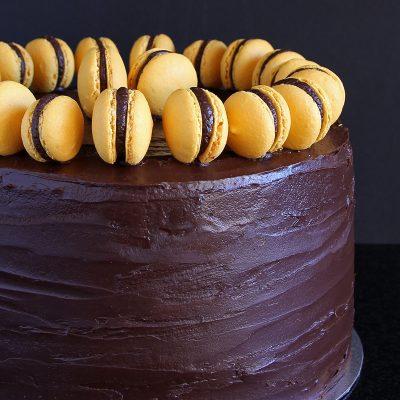 Chocolate Orange Celebration Cake – Gluten Free (with Orange Macaron)